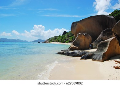 Seychelles beach stones panorama sunny day La Digue