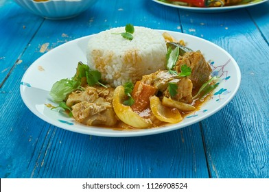 Seychelles fish curry  with coconut rice , traditional Seychellois recipe for a typical curry of red snapper cooked in fish stock.
