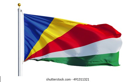 Seychelles flag waving on white background, close up, isolated with clipping path mask alpha channel transparency
