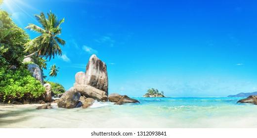 Seychelles Islands. Palm Beach In Tropical Paradise. Summer Travel