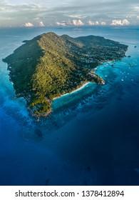 seychelles la digue island drone aerial view