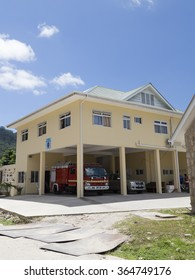 Seychelles - November 9, 2014: big red fire truck standing in the only fire station on the island of La Digue November 9, 2014, La Digue, Seychelles