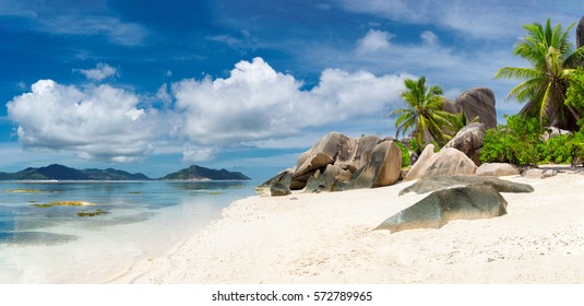 Seychelles panoramic view. La Digue island.