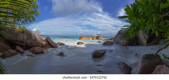 Seychelles, Prale island, Anse Lazio beach panorama