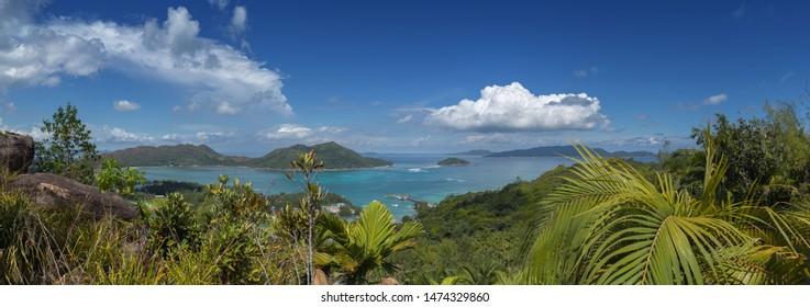 Seychelles, Prale island, top view panorama