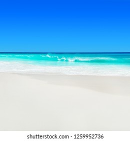 Seychelles, Praslin island, tropical beach Anse Georgette with white sand and turquoise Indian ocean water. One of the most beautiful beaches in the world. Seascape background.