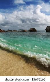Seychelles seascape. Granite stones and ocean. Anse Lazio