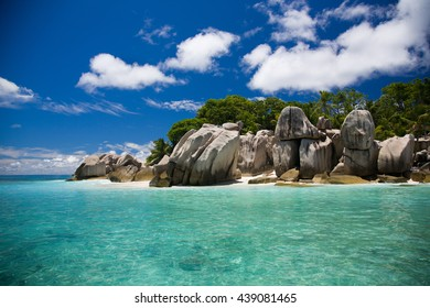 Seychelles, typical rocks and tropical view of an island