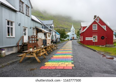 SEYDISFJORDUR, ICELAND, JULY 26, 2018: Beautiful quaint artist town of Seydisfjordur in East Iceland