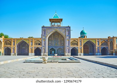 The Seyed Mosque is one of important historic city landmarks of Qajar Era, famous for its masterpiece architecture and tradtional Persian tiling, Isfahan, Iran.