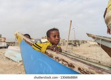 SEYHUT, YEMEN, JANUARY 22, 2018: Fisherman in Yemen