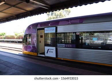 Seymour Railway Station, Victoria, Australia, November 18 2019.   V/Line Sprinter train at station.  This train  travels between Seymour and Southern Cross Station in Melbourne