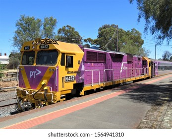 Seymour Railway Station, Victoria, Australia, November 18 2019.  PT or Public Transport  train arriving at Seymour on its journey from Southern Cross station in Melbourne to Albury/Wodonga NSW