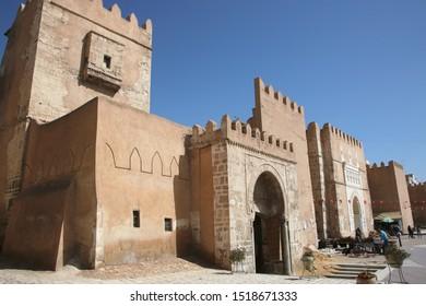 SFAX, TUNISIA - 23 APRIL 2019: Bab Diwan Gates and the city wall of the old medina in Sfax, Tunisia.