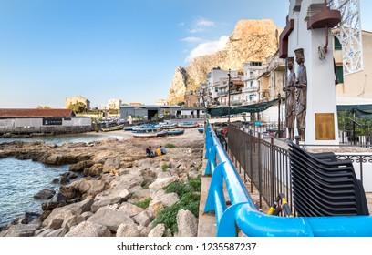 Sferracavallo, Sicily, Italy - October 1, 2018: View of harbor of Sferracavallo vilagge at afternoon, province of Palermo, Sicily