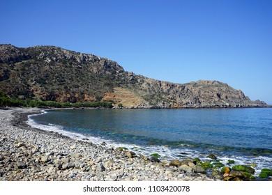 Sfinari beach on the west coast of Crete island, Greece