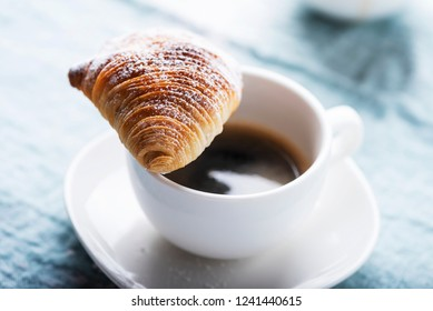 Sfogliatella, typical Neapolitan pastry, with ricotta cheese, selective focus