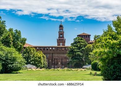 Sforza Castle - Castello Sforzesco, view from Parco Sempione - Sempione Park, Milan, Italy