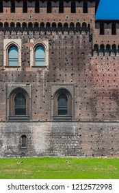 Sforza Castle in Milan, northern Italy, watchtower, old brick wall, tower