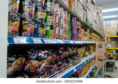 SG LEMBING, MALAYSIA - NOVEMBER 27, 2017: Ramen noodles aisle in the asian grocery store