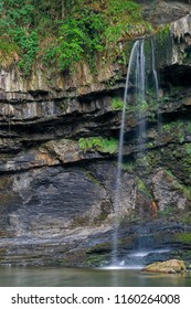 Sgwd Gwladus waterfall in summer, Brecon Beacons National Park, Wales.