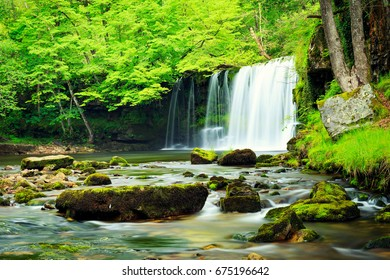 Sgwd yr Eira waterfall in National Park in Wales.