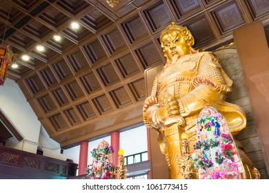 Sha Tin District, Hong Kong - Jun 12 2017: Che Kung Statue at Che Kung Temple in Sha Tin District, New Territories, Hong Kong. He was a general during the Southern Song Dynasty (1127-1279).