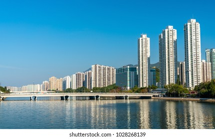 Sha Tin District with the Shing Mun River in Hong Kong. China