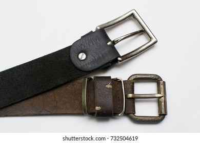 shabby belts on white background.