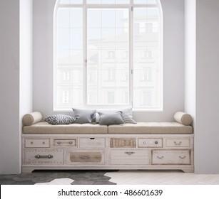 Shabby chest of drawer, 3d illustration