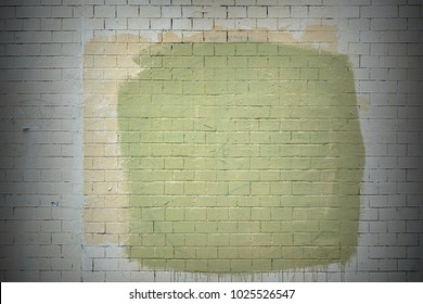 Shabby Concrete Wall With Peeled Plaster And Graffiti Background Texture. Colorful Old Building Facade With Grafiti. Rough Painted Urban Surface Backdrop Or Wallpaper