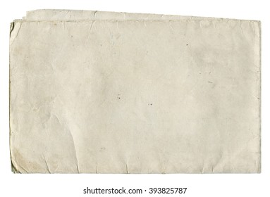 Shabby light paper blank with old spots isolated on white background. Vintage texture.