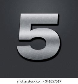 Shabby metal numbers. Old metal figure is five