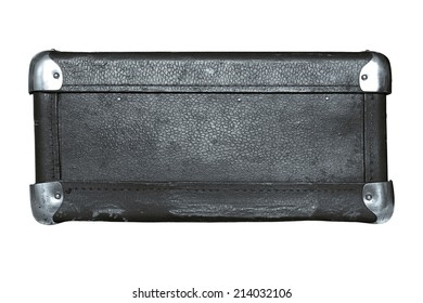 shabby old leather with iron corners a luggage suitcase silvery color isolated on a white background