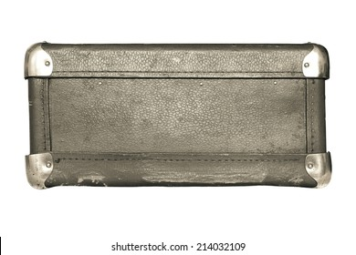 shabby old leather with iron corners a luggage suitcase beige color isolated on a white background