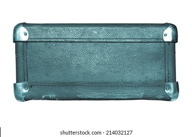 shabby old leather with iron corners a luggage suitcase indigo color isolated on a white background