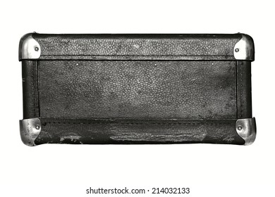 shabby old leather with iron corners a luggage suitcase black color isolated on a white background