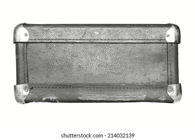 shabby old leather with iron corners a luggage suitcase gray color isolated on a white background