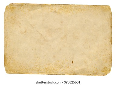 Shabby paper blank with old spots isolated on white background. Vintage texture.