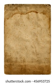 Shabby paper blank with old spots isolated on white background. Vintage paper texture for design.