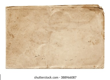 Shabby paper with old spots isolated on white background. Vintage blank for design.