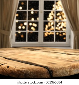 shabby table of wood and xmas tree