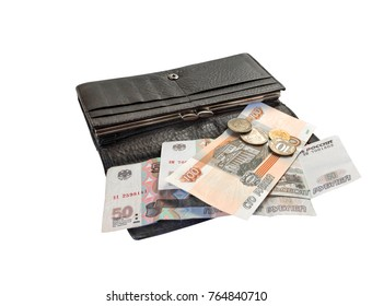 Shabby wallet and small amount of money on isolated background