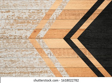 Shabby wooden floor of painted boards. Worn wooden wall with geometric pattern.