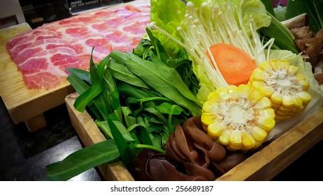 Shabu shabu food set, japanese food in restaurant.