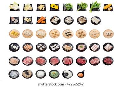 Shabu ingredients on white background