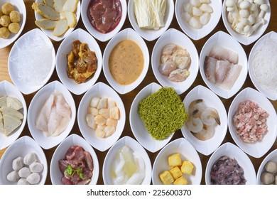 the shabu meat and seafood set