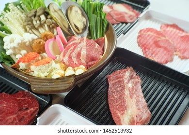 shabu shabu set with raw meat