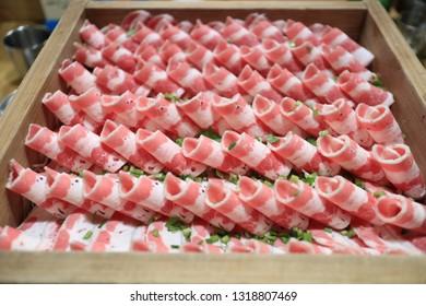 Shabu-shabu with beef in restaurant