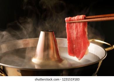 Shabu-shabu of beef slice